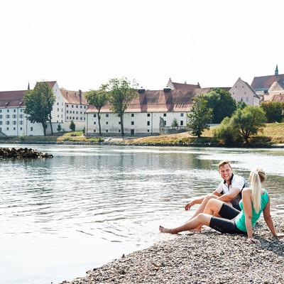 Radler an der Donau bei Straubing